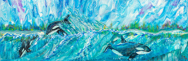 Orcas At Play Art   lisaabbott