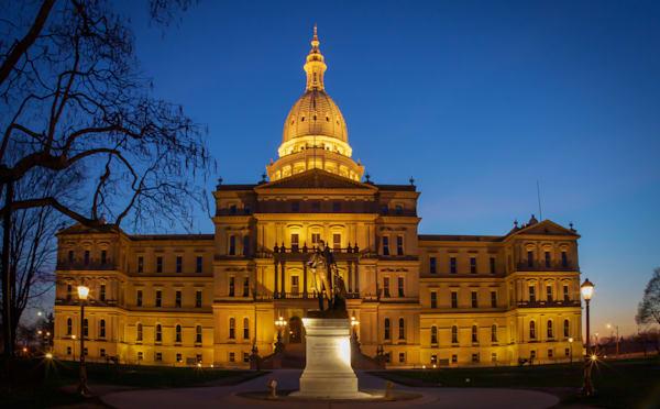 Michigan State Capital At Night Photography Art | Ursula Hoppe Photography