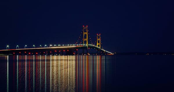 Mackinac Bridge At Night Photography Art | Ursula Hoppe Photography