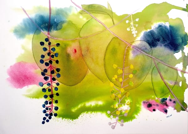 Pokeweed by Mary Waltham a British artist