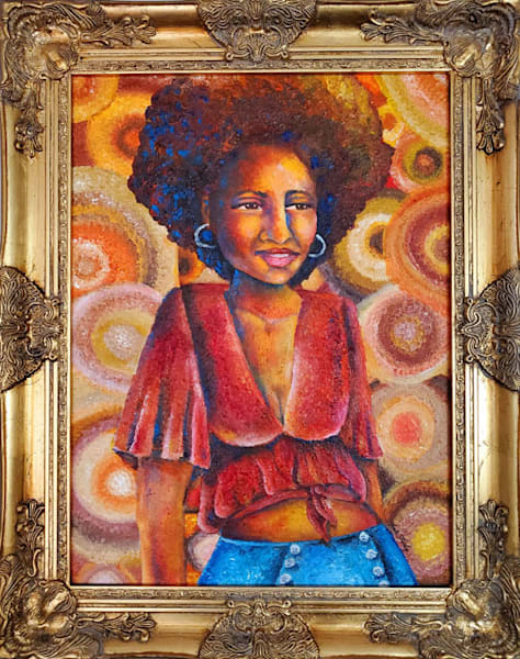 African American woman styled in 1970s clothing and hairstyle.