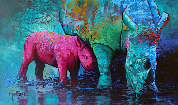 Rhinoceros, animal, art, original painting, Marnier art, artist