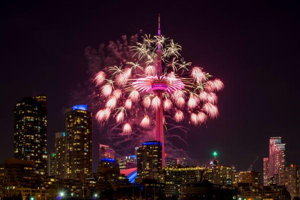 Cn Tower Toronto, With Fireworks Photography Art   Rick Vyrostko Photography
