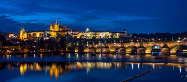 Prague Bridge And Castle At Dusk Photography Art | Rick Vyrostko Photography