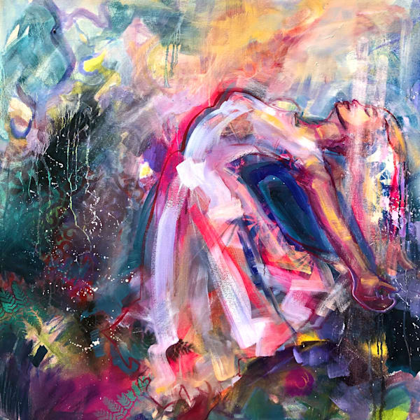 """Prophetic art praise worship dancer oil and mixed  painting on canvas by Monique Sarkessian """"Heaven Dancer 12""""."""