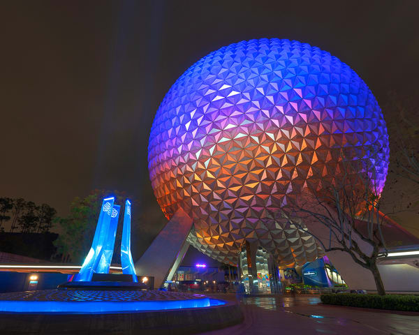 Spaceship Earth and Blue Pylons 2 - Disney Wall Prints   William Drew