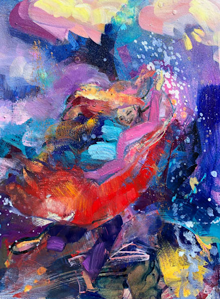 """Prophetic art by Monique Sarkessian """"Heaven Dancer 4"""". Oil and mixed media painting on wood measures 10""""x 8""""x .75"""""""
