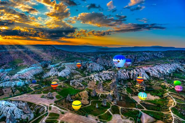 Balloons Rising In Cappadocia Photography Art   Rick Vyrostko Photography