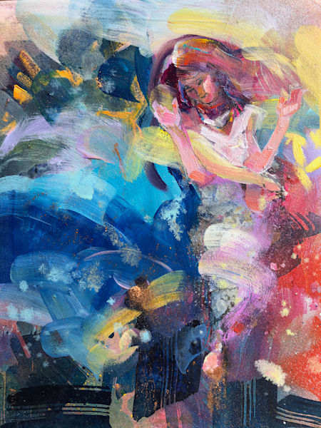 """Prophetic art by Monique Sarkessian """"Heaven Dancer 7"""". Oil and mixed media painting on wood measures 10""""x 8""""x .75"""""""