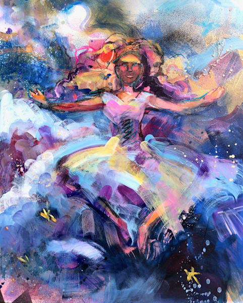 """Prophetic art by Monique Sarkessian """"Heaven Dancer 10"""". Oil and mixed media painting on wood measures21""""x17"""""""