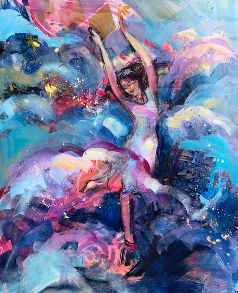 """Prophetic art by Monique Sarkessian """"Heaven Dancer 11"""". Oil and mixed media painting on wood measures21""""x17"""""""