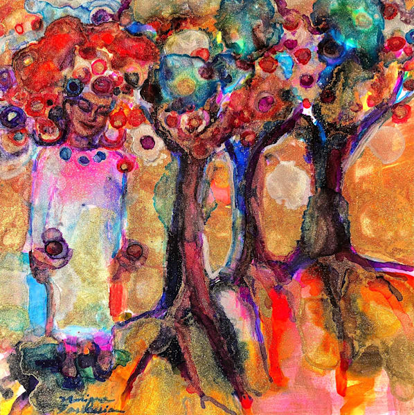 """""""Glory Carrier 5- Rooted in Love 2 """", is a beautiful heavenly vision painting of a woman with roses around her head which connects to the 3 trees which bear abundant fruits. The three trees represent Father, Son and Holy Spirit by Monique Sarkessian"""