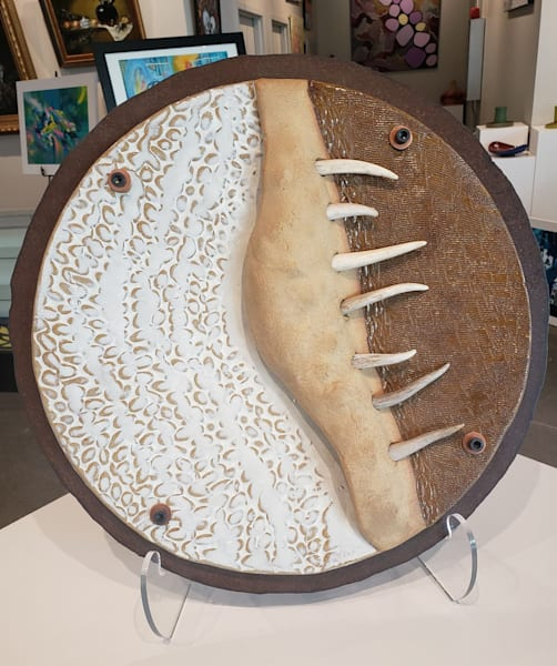 Ceramic, Steel and Antlers Wall Hanging Decor Staghorn Moon