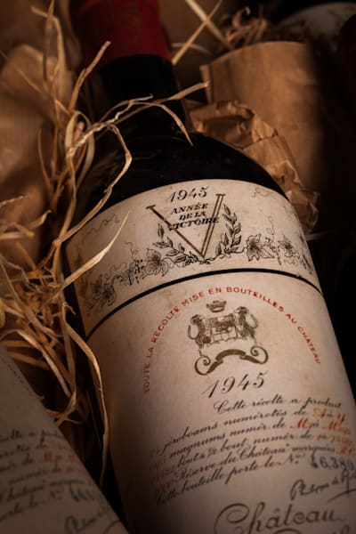 A bottle of 1945 Chateau Mouton Rothschild wine