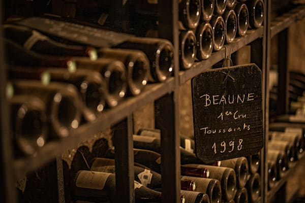 Aging bottles of French wine