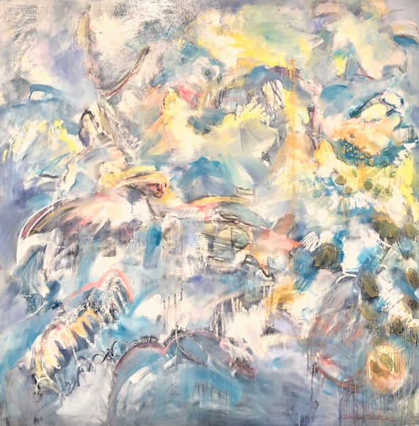Angel painting with abstracted heavenly figures oil painting abstracted floral interior turned into a heavenly landscape.