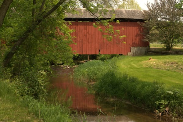 Red Covered Bridge Over A Midwestern Stream Photography Art | Lauramarlandphoto.com