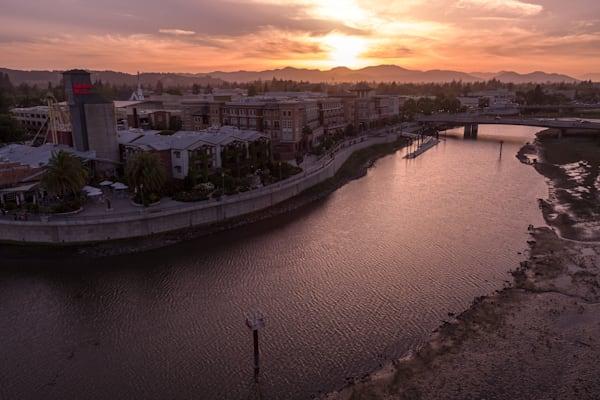 Downtown Napa at sunset