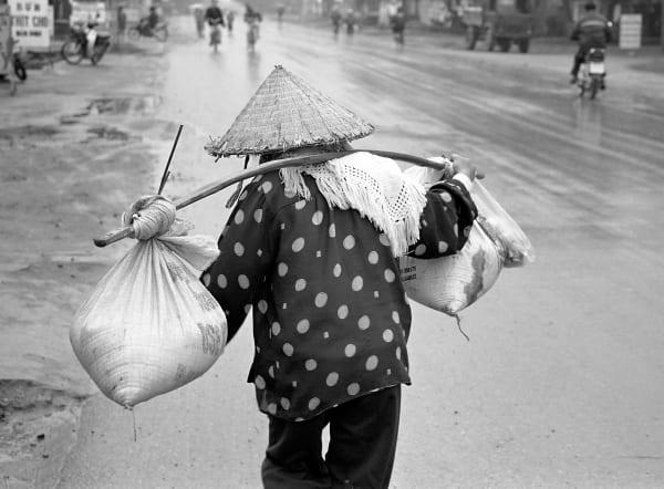 Groceries Vietnam, Black & White, Woman, Walking, Culture, Customs, Portrait