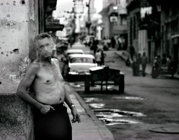 Havana Cuba man smoking cigar 1950s cars