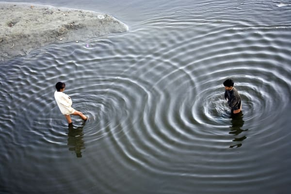Ripples in the water in Agra, India