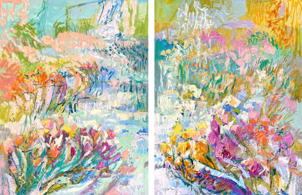 Pastel Floral Canvas Print, Diptych Art by Dorothy Fagan