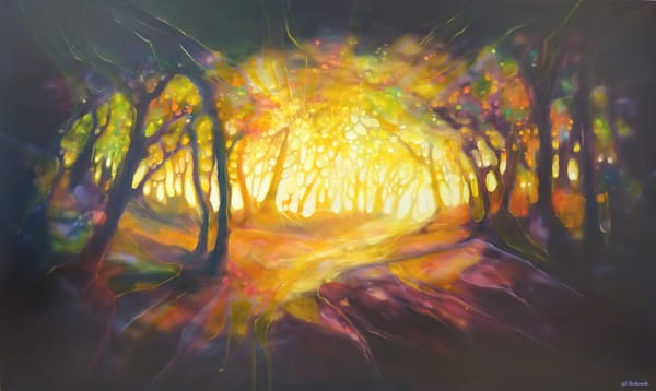 large oil painting of a glowing autumn forest clearing with a red deer stag
