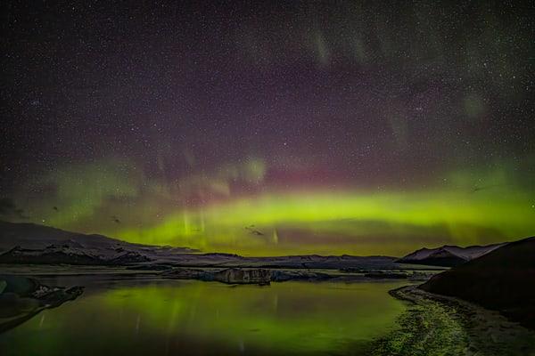 Aurora Over Jökulsárlón Lagoon 2 Photography Art | Michael Scott Adams Photography