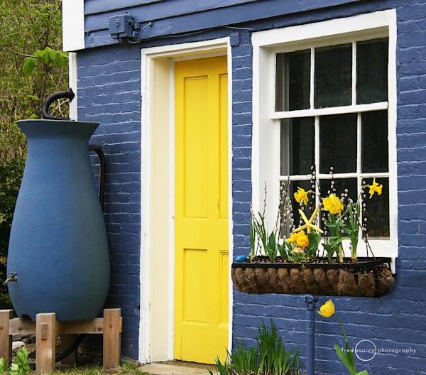 Yellow Door and Blue Rain Barrel