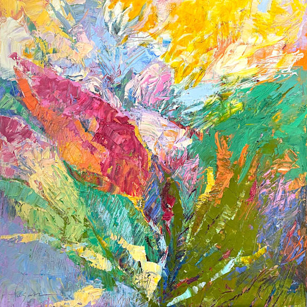 Abstract bloom and branch painting