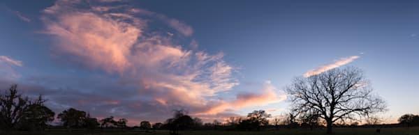 Pink Clouds Sunset Pano, Damon, Texas