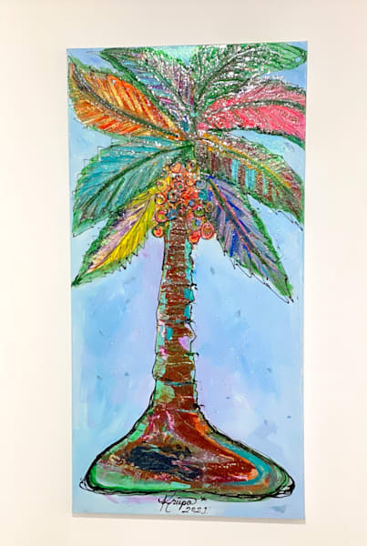 Palm Tree Party Girl Art | STACIE KRUPA FINE ART - THE COLLECTION