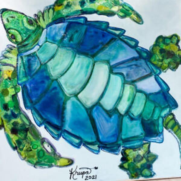 Sea Turtle Majestic Aqua Rockstar Art | STACIE KRUPA FINE ART - THE COLLECTION