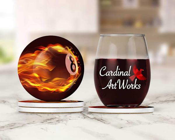 Flaming 8-ball Coasters