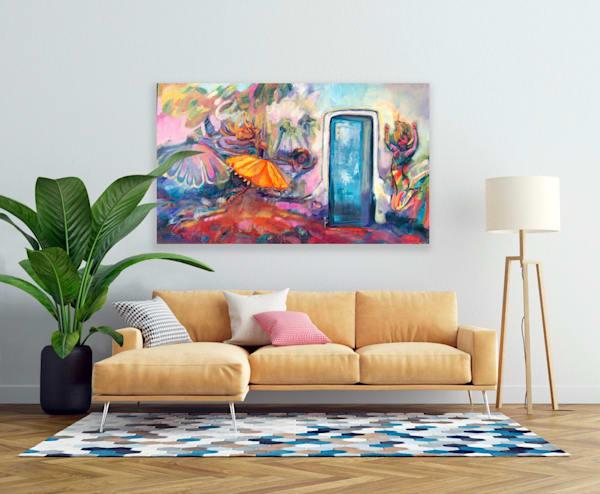 """Prophetic art by Monique Sarkessian """"Heaven Dancer 9 Blue Portal Breakthrough"""" , oil painting on canvas 36x60""""."""