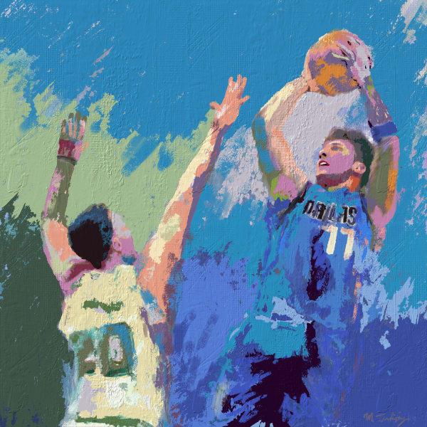 Luka Donic basketball Painting | Sports artist Mark Trubisky | Custom Sports Art.