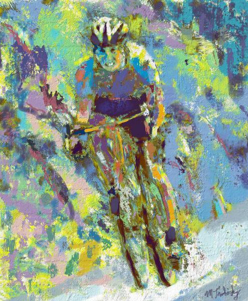 Tour de France Cyclist Painting | Sports artist Mark Trubisky | Custom Sports Art.