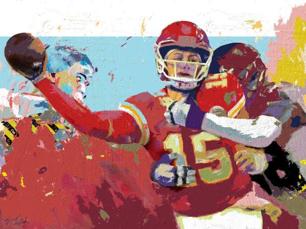 Mixed-media Painting of Patrick Mahomes | Sports artist Mark Trubisky | Custom Sports Art.