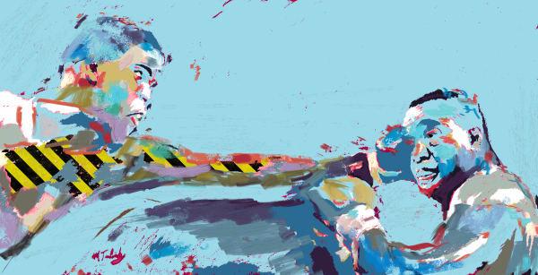 Muhammad Ali Vintage Painting | Sports artist Mark Trubisky | Custom Sports Art.