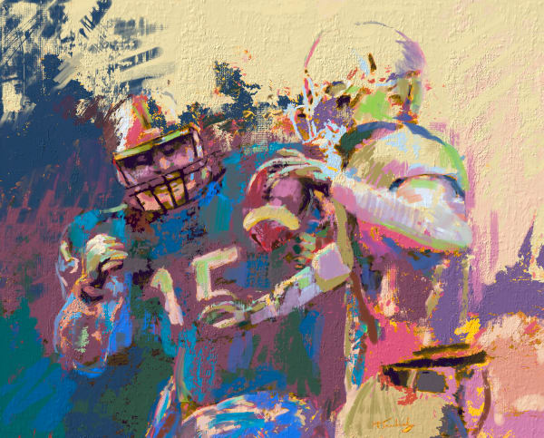 Expressionist Football Painting | Sports artist Mark Trubisky | Custom Sports Art.