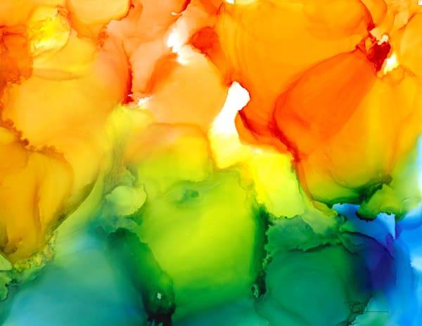 poppies, orange, yellow, green blue