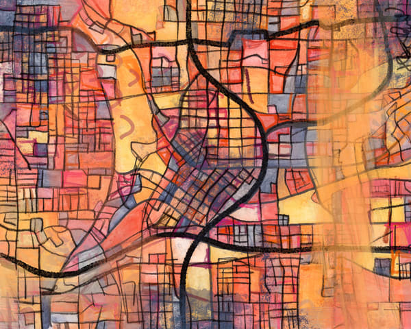 Abstract Art Prints | Digitally merged illustrations and paintings of map art of various Southern Cities | Sold as Abstract Art Prints