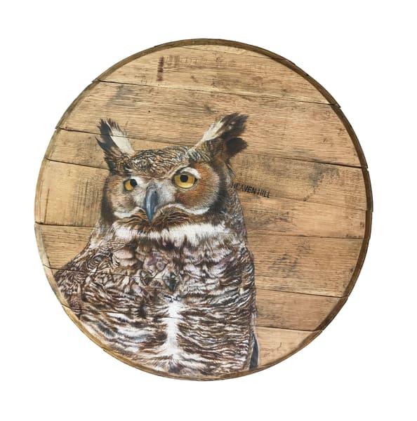 Great Horned Owl Bourbon Barrel Art   Lori Vogel Studio