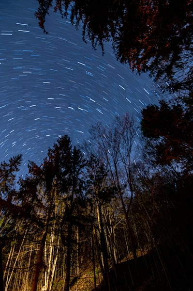 Stars above a cabin in the woods of Pennsylvania