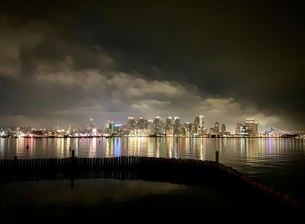 San Diego Skyline At Night Photography Art | Kathleen Messmer Photography