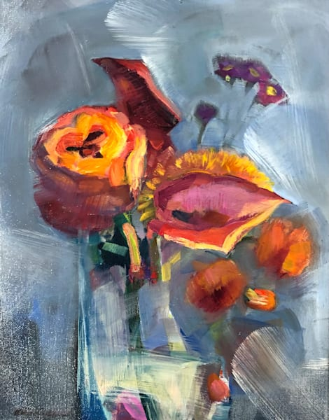 Colorful abstract still life oil painting with burgundy dark red calla lilies, gold mum, and Orange Ranunculus by Monique Sarkessian.