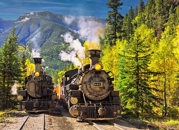 """""""D&S Trains Passing"""" fine art photo by Fred Neveu."""