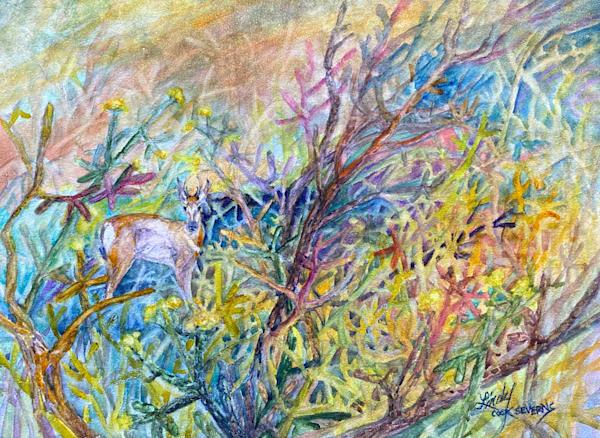 Lindy Cook Severns Art | In His Castle of Cactus original watercolor