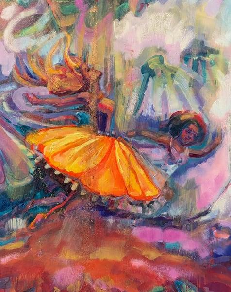 "High quality art print of prophetic art by Monique Sarkessian ""Heaven Dancers 13 left side crop image"" a beautiful worship praise dancer."