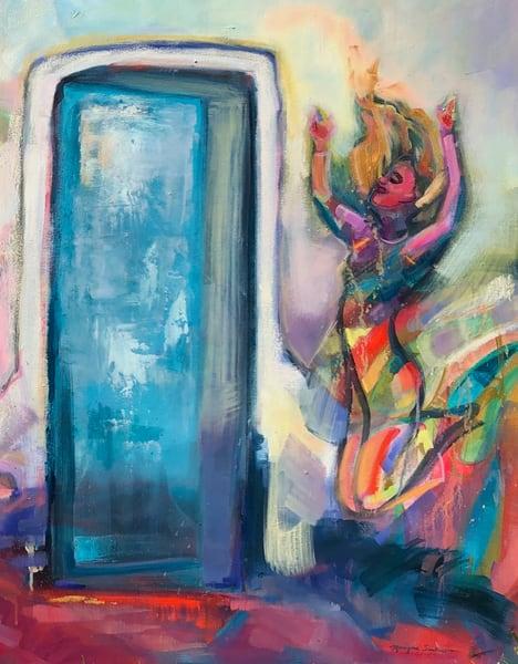 "High quality art print of prophetic art by Monique Sarkessian ""Heaven Dancers 13 right side crop image"" a beautiful worship praise dancer."
